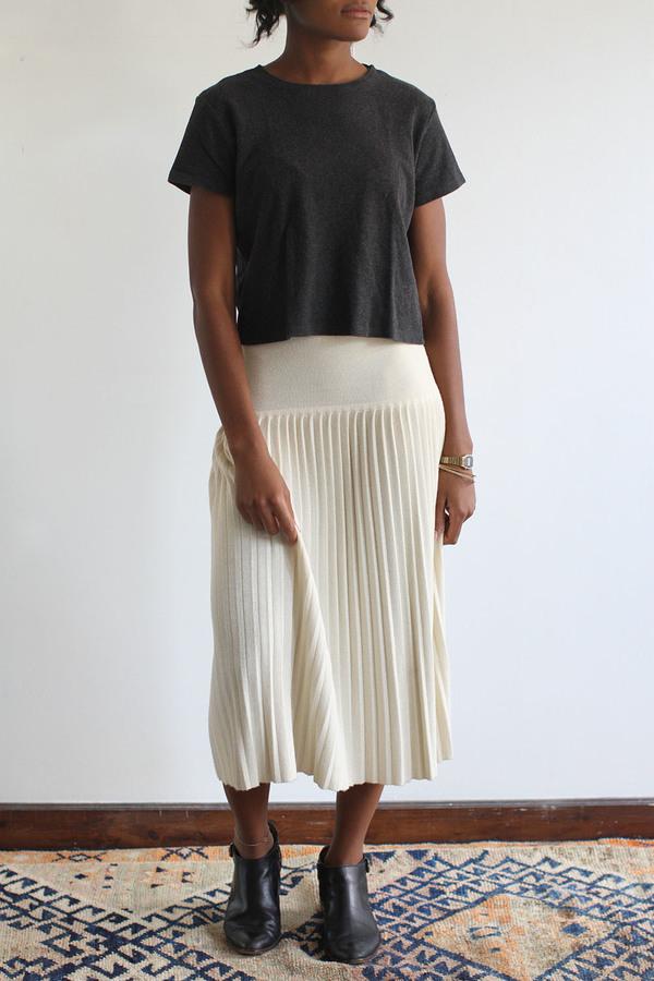SomeLikeUs Vintage Cream Dropwaist Knife Pleated Skirt
