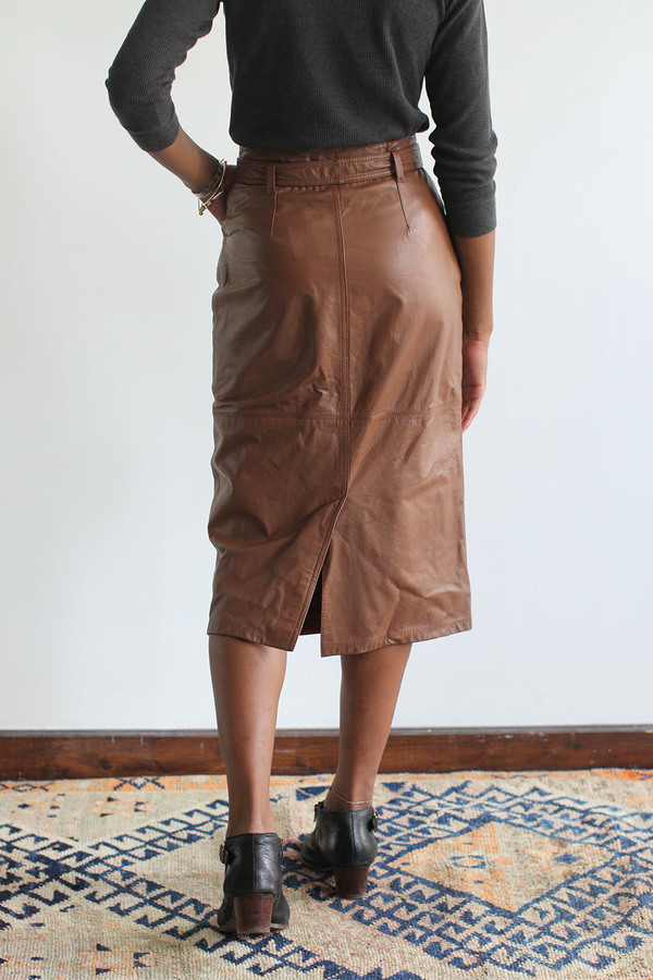 RAWSON Vintage Caramel Leather Pencil Skirt