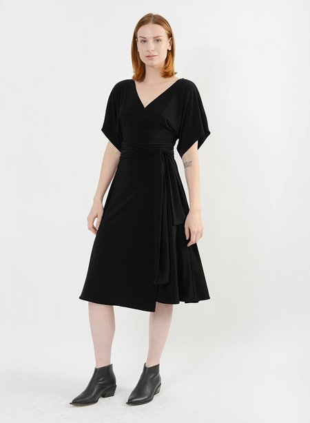Meg Dolman Sleeve Wrap Dress - Black