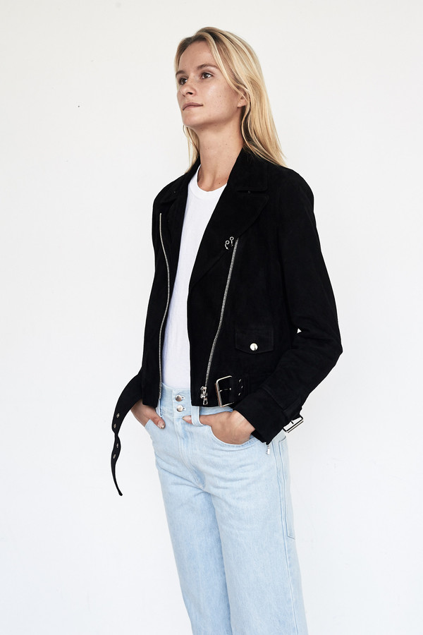 Sandy Liang Suede Delancey Motorcycle Jacket