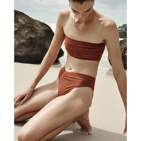 Beth Richards Del Ray High Cut Scrunched Bikini Bottom - Rust