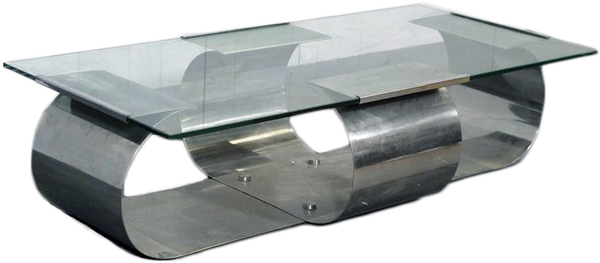 Chrome + Glass Coffee Table by Francois Monnet