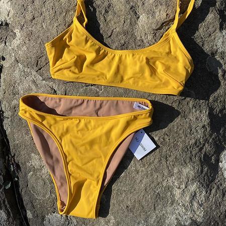 Nu Swim Carly High-Cut Bikini Bottom - Yolk