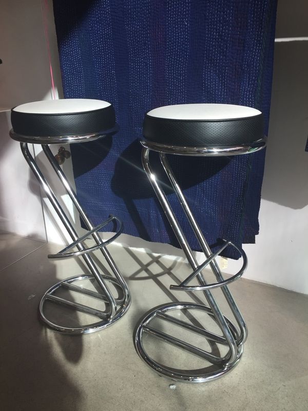 VINTAGE CHROME STOOLS - REUPHOLSTERED