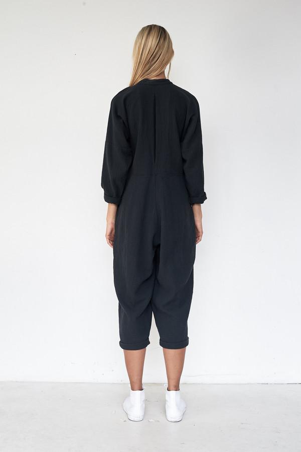 Black Crane Cotton Quilted Jumpsuit