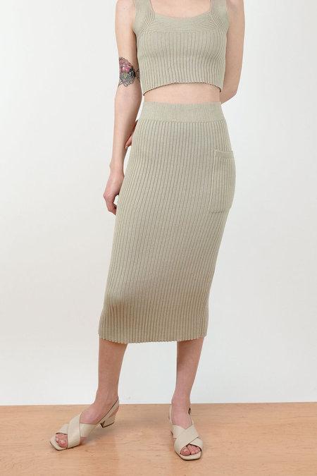 Micaela Greg Rae Ribbed Skirt - Aloe