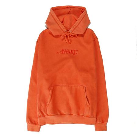 Awake NY Embroidered Logo Pullover Hoodie - Red Orange