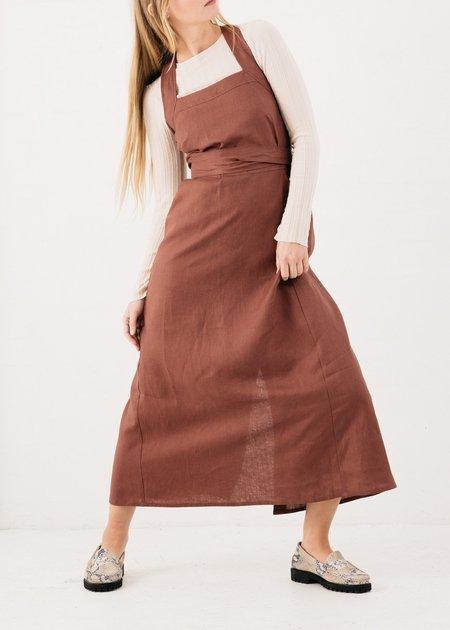 FME Apparel Pini Linen Wrap Dress - Maple