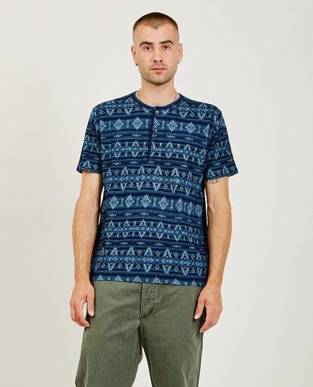 RRL Blanket Short Sleeve Henley - Indigo Stripe
