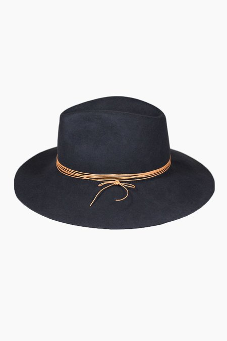 Artesano Wide Brim Fedora - Dark Charcoal Blue