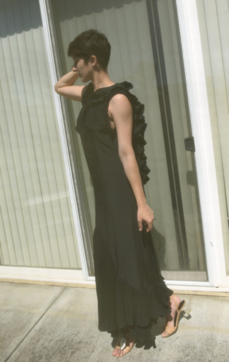 Vintage Mayle Silk Dress - Black
