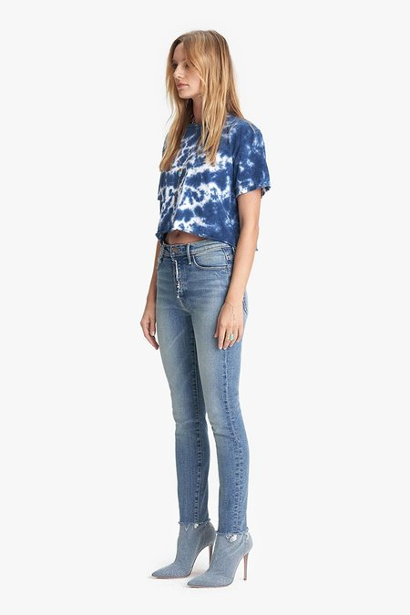 Mother Denim The Fly Cut Stunner Ankle Fray Jeans - Night On A Shiny White Vespa