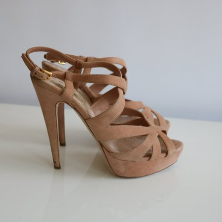 [Pre-loved] Miu Miu Platform Sandals - Beige