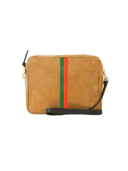 Clare V. Marisol Suede with Desert Inlay Stripes Bag - Camel