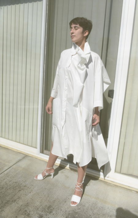 DRESS Art Worker Shirtdress -  paper white