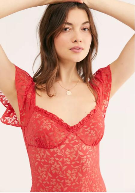 Free People Olivia Bodysuit - Red