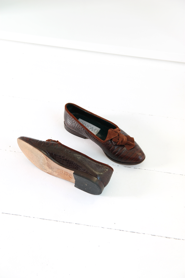DUO NYC Vintage Reptile Embossed Flats