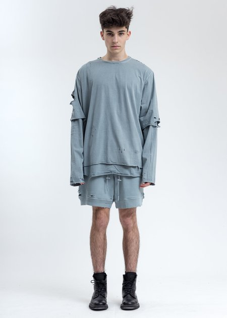 C2H4 Ruin Distressed Sweat Shorts - Grey