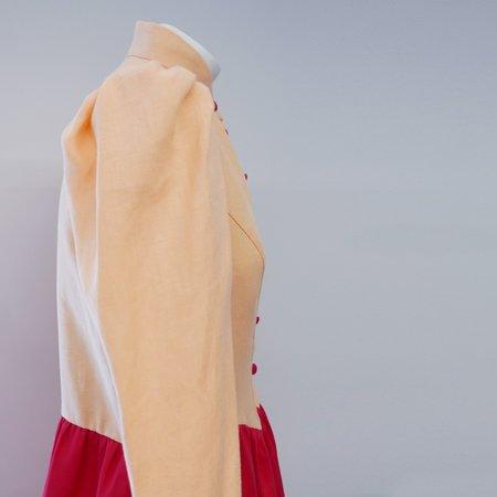 BATSHEVA Grace Linen Dress - Peach/Red