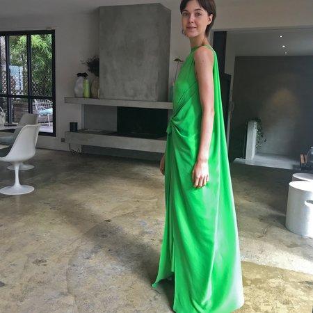 BERNADETTE Judy Silk Satin Maxi Dress - Bright Green