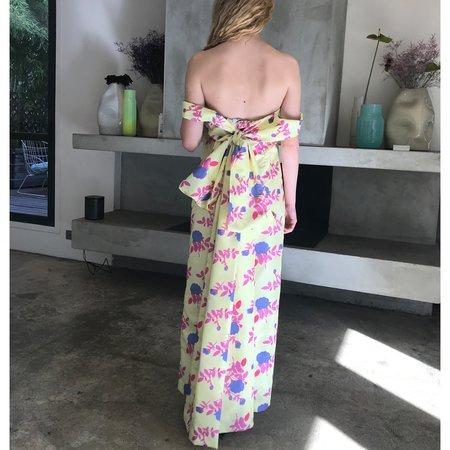 BERNADETTE Julia Off the Shoulder Taffeta Dress - Yellow Floral