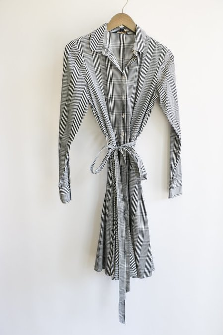 [pre-loved] Brooks Brothers Gingham Shirt Dress - Black/White