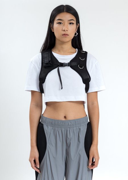 Namilia Crop T Shirt With Chest Harness - White