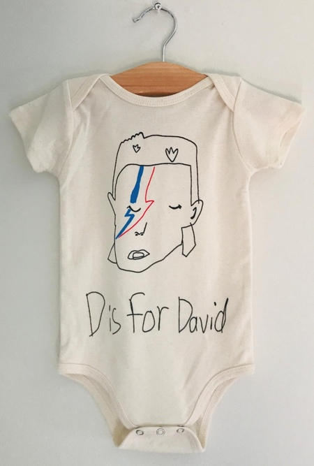 kids Anchors-n-Asteroids D is for David Onesie - natural