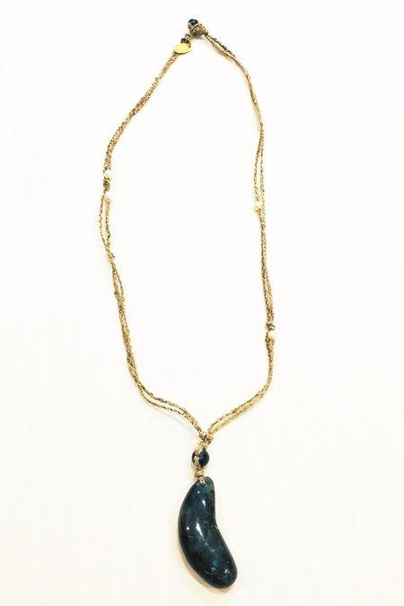 Forte Forte Long Braided Silk Natural Labradorite Necklace