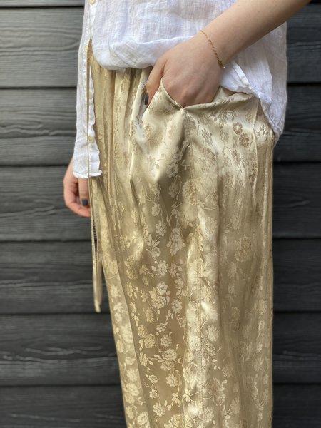Ms MIN Jacquard Pull On Wide Pant - Light Khaki