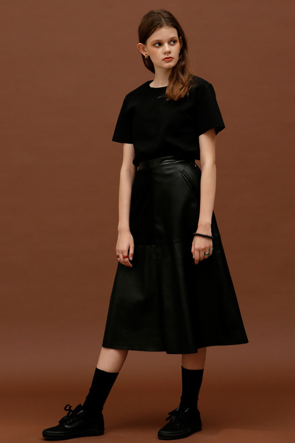 ROCKET LUNCH Midi Leather Skirt- Black
