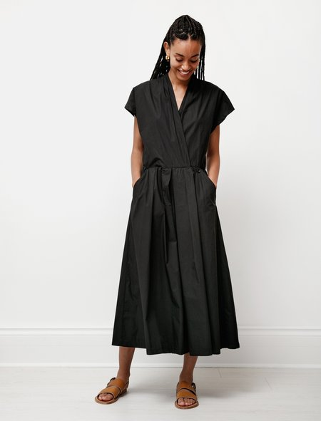 Hache Wrapover Poplin Jumpsuit - Black