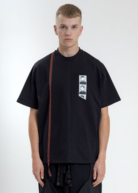 Komakino Boxy Fit T-Shirt With Tape - Black