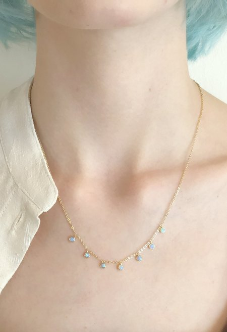 Nicole Kwon Concept Store Opal Dangle Necklace - 14k Gold Vermeil