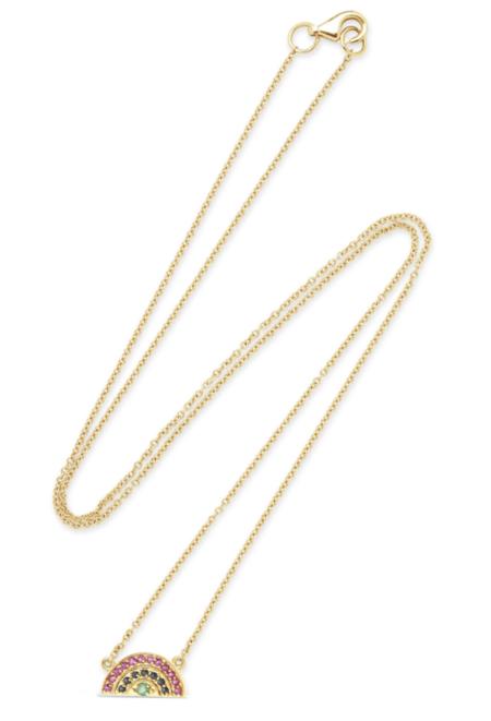 andrea fohrman mini multi sapphire rainbow necklace - Gold