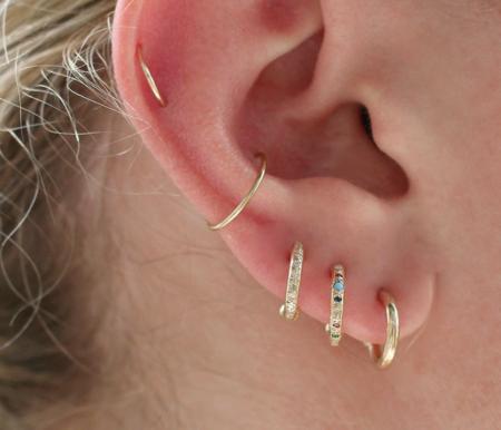 scosha a mini hoop with diamonds - 10K Gold
