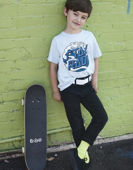 Kids Anchors-n-Asteroids Stay Rad Surf Tshirt - Light Blue
