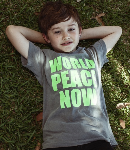 Kids Anchors-n-Asteroids World Peace Now Tshirt - Grey