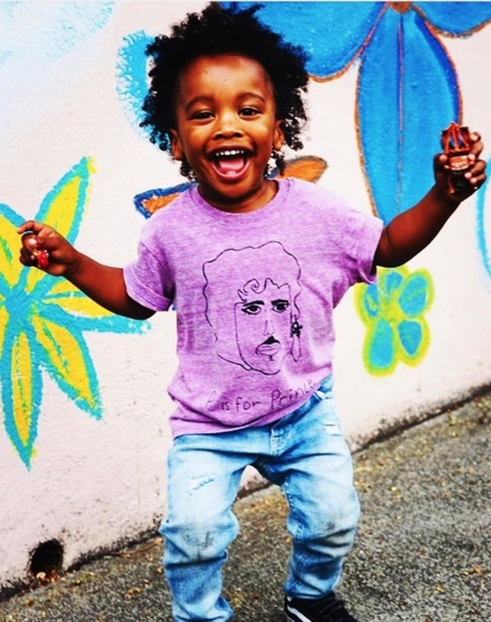 Kids Anchors-n-Asteroids P is for Prince Tshirt - Purple