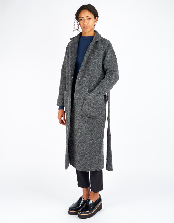 Ganni Fenn Long Wrap Coat Smoked Pearl Melange