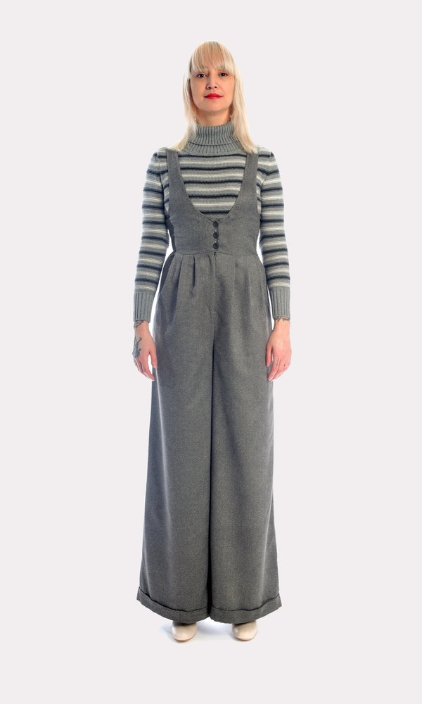 Kurt Lyle Olivia Suspender Pants in Charcoal Ultrasuede