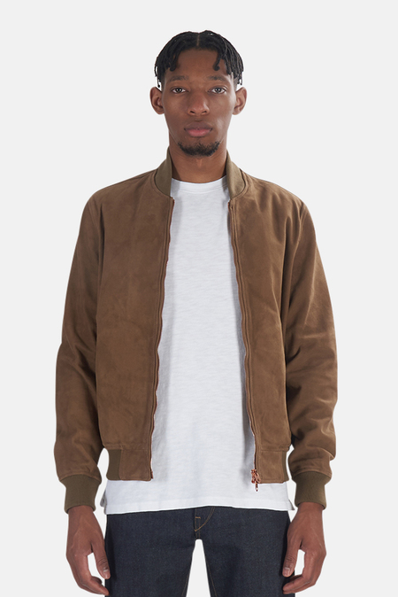 President's Leather Suede Bomber Jacket - Beige