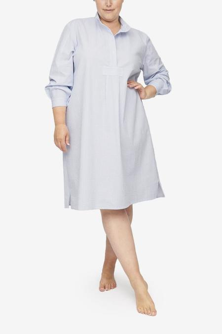 The Sleep Shirt Plus Size Long Sleep Shirt - Blue/White Seersucker