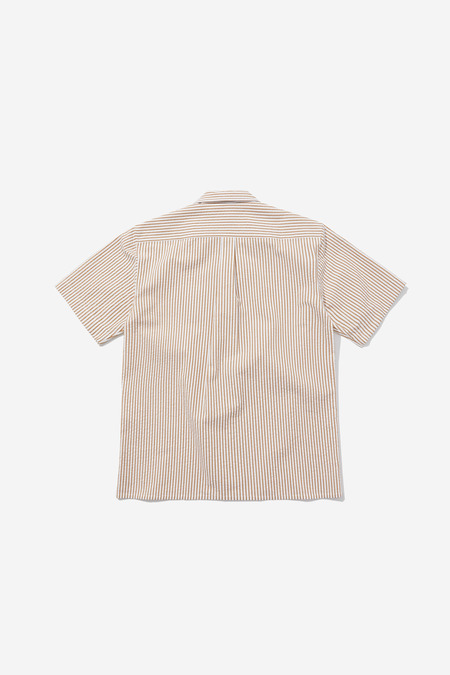 SENTIBONES SEERSUCKER HALF SLEEVES SHIRTS - ORANGE/BROWN
