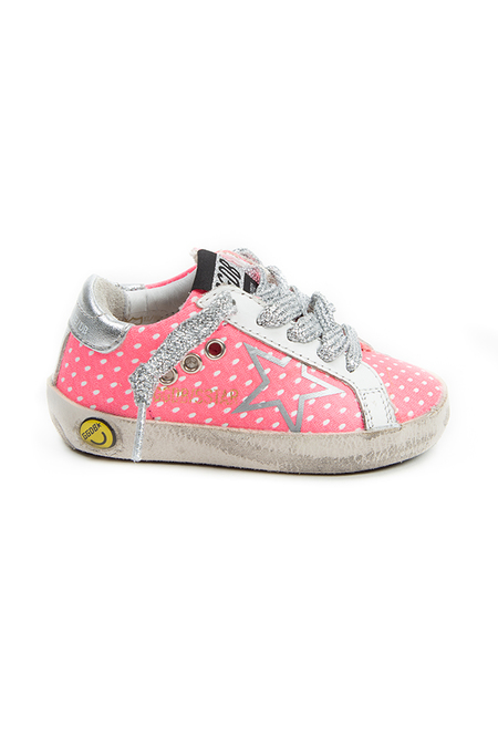 kids Golden Goose Toddler Superstar Sneaker Shoes - Pink Fluo Net/Silver Profile Star