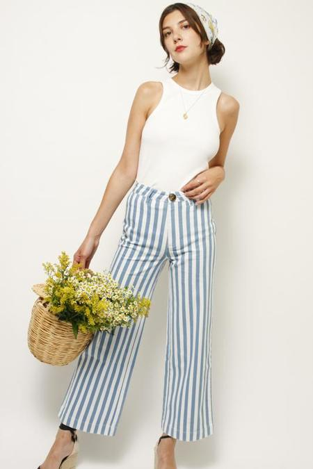 Rollas Old Mate Pant - Bay Blue Stripe
