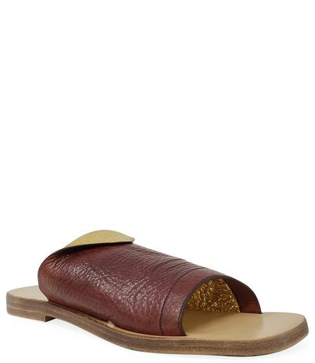Madison Maison By Silvano Sassetti Leather Sandal - Brown/Gold
