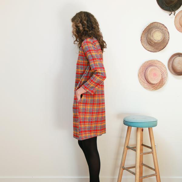 Me & Arrow Fuzzy Dress - Fuzzy Red Plaid