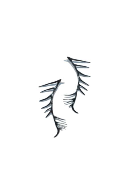Chee-me-no Dragon Spikes Post Earrings - Black