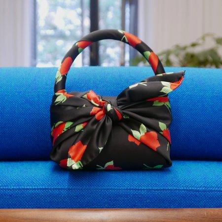 BERNADETTE Belinda Satin Mini Bag with Roses - Black